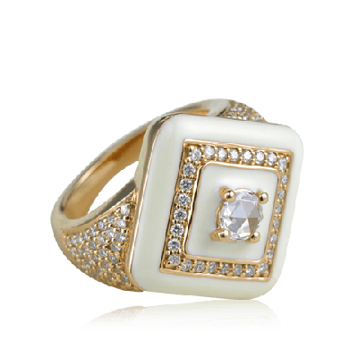 White Enamel Ring Nestle in Majestic diamonds- Zoya Inheritance
