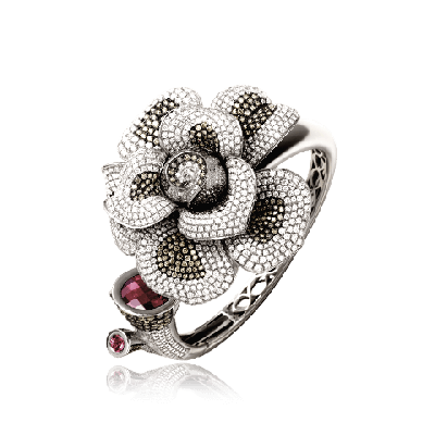 White Gold Diamond & Black Rhodium Bangle with Rose Petals - Zoya