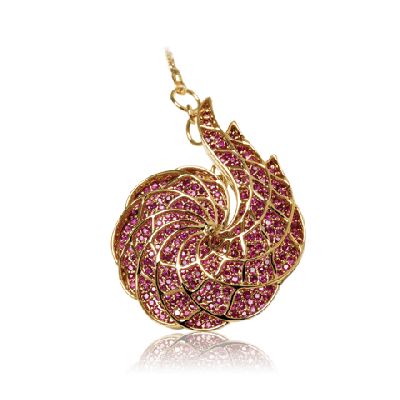 Yellow Gold Pendant with Glistening rubies - Zoya greece
