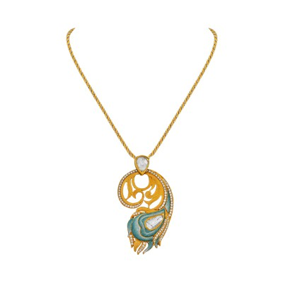 feather full azilaa pendant peacock green at necklace thread
