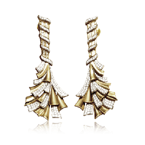 Ribbon of gold and diamond earring