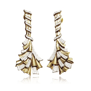 Ribbon Of Gold And Diamond Earring - Zoya Espana