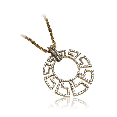 Gold & White Diamond Pendant Inspired by the Labyrinth maze - Zoya