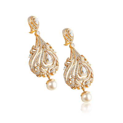 Uncut Diamond and Gold Earrings - Zoya