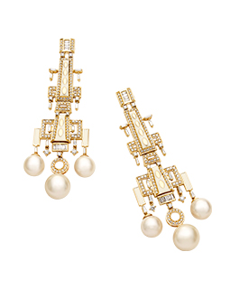 Pave set baguette diamond earrings  - 1130DZO