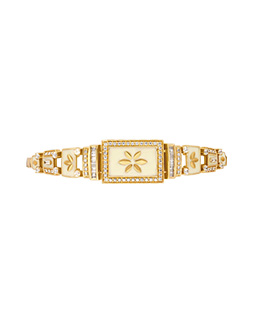 Gold, white enamel and diamond bracelet  - IN00BZA
