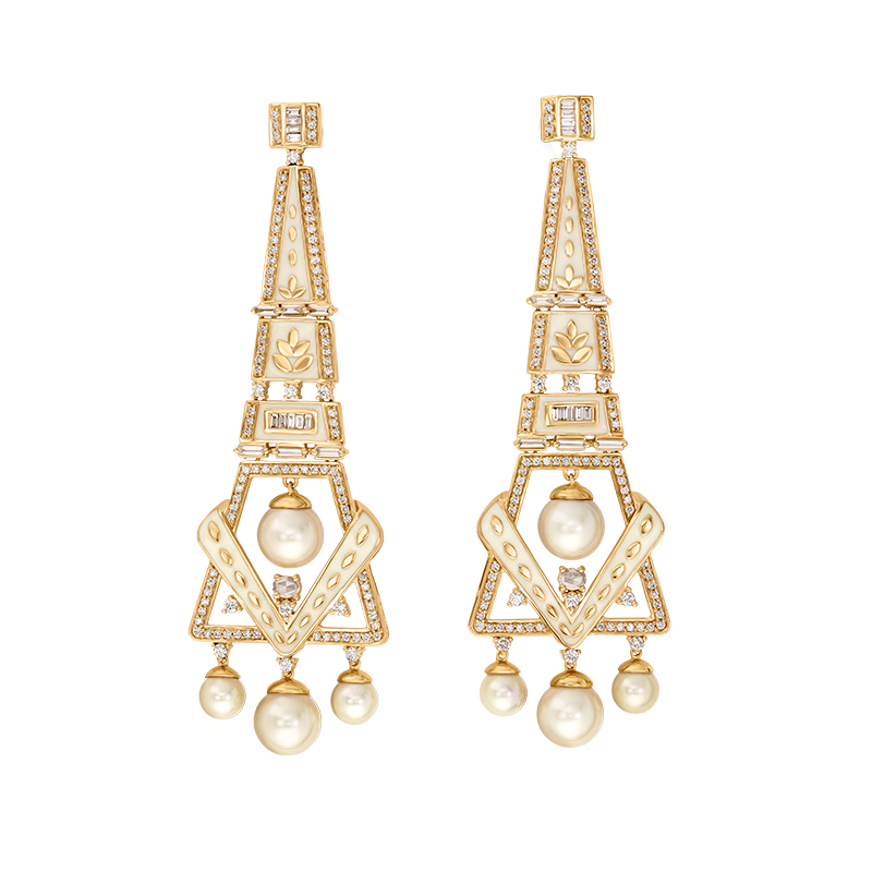 Unique geometrical diamond earrings  - 1130DZR