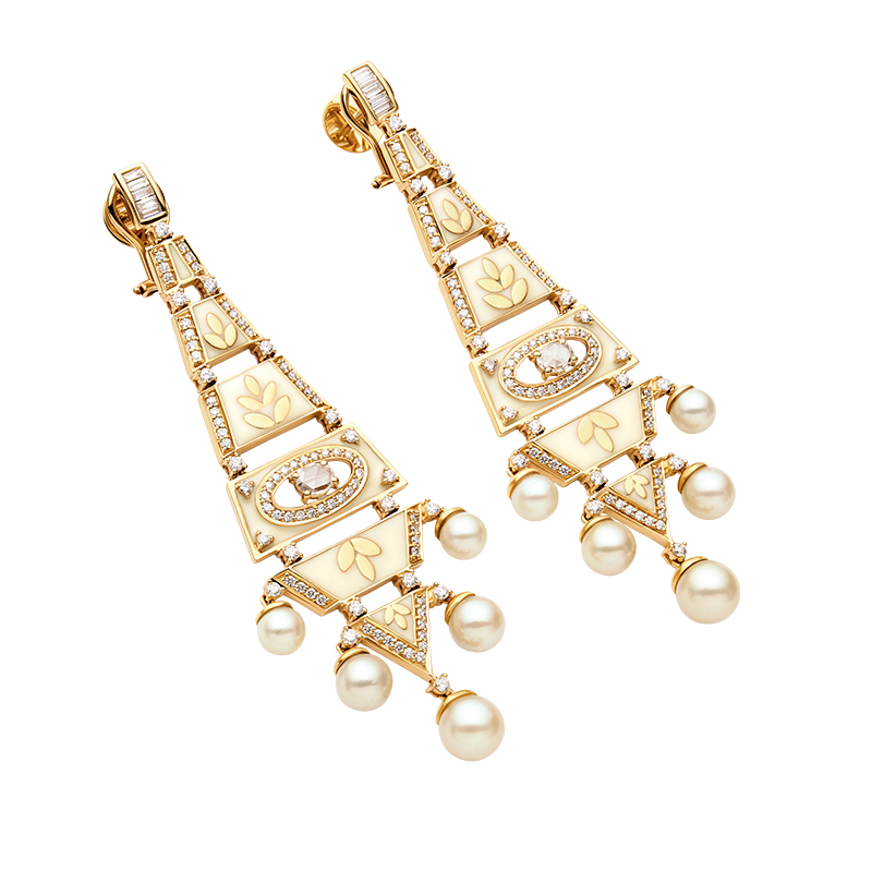 Encrusted diamond and pearl earrings  - 1130DZT