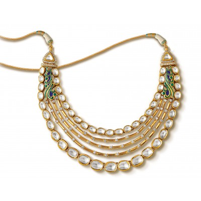 Silhouetted White Polki & Diamond Necklace in Yellow Gold - Zoya Awadh