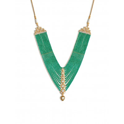 Yellow Gold and strings of Emerald Necklace with Polki - Zoya Awadh