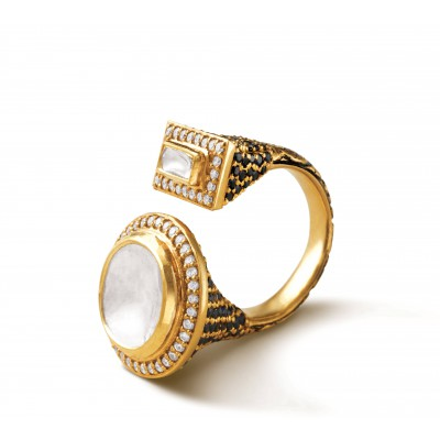 polki centerpiece embellished with yellow gold, diamonds and dark enamel - Zoya