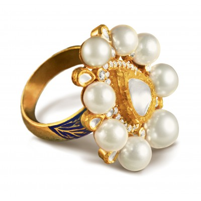 Exquisite Pearls Orbiting around Diamond Ring - Zoya Awadh