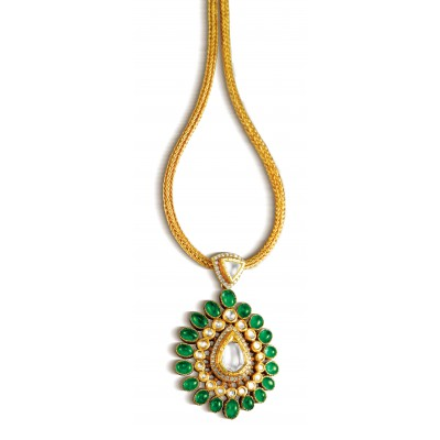 Finest Emerald Cut Diamond Pendant - Zoya Awadh