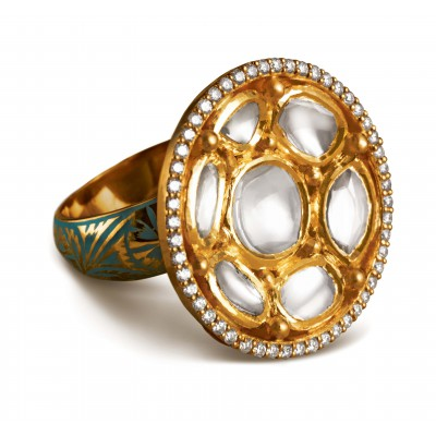 Polki Diamond and Emerald Cut Ring inspired by Lucknowi Embroidery - Zoya