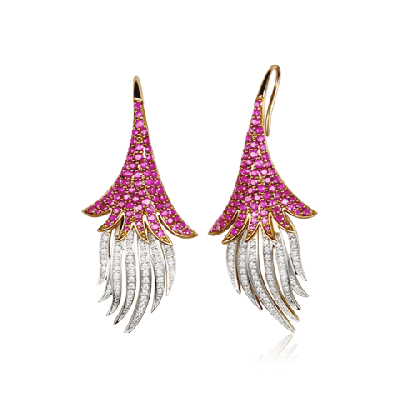 Gold Ruby and Diamond Earring with Black Rhodium inspired by Spanish Dancers Skirt - Zoya Espana