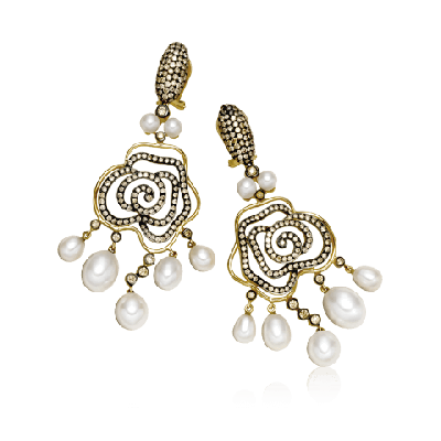 Gold Crafted White Pearl and Diamond Earring - Zoya Espana