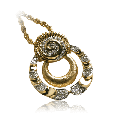 Yellow Gold Pendant with Pave set White Diamond - Zoya Greece