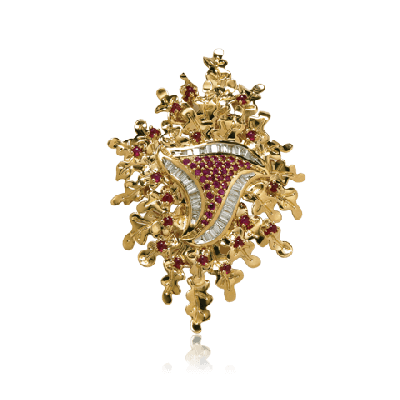 Exquisite gold & Baguettes Pendant with ruby - Zoya Greece