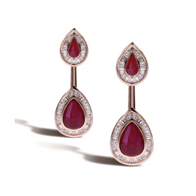 Ruby And Diamond Ear Arrows