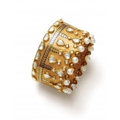 Gold Bangle Embellished with White Pearl - Zoya Awadh