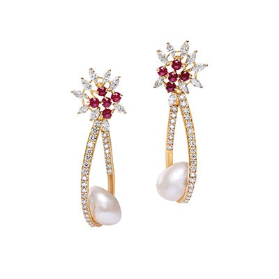 Ruby and Pearl Drop Earrings