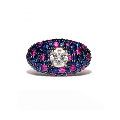 Ruby And Blue Sapphire Solitaire Ring