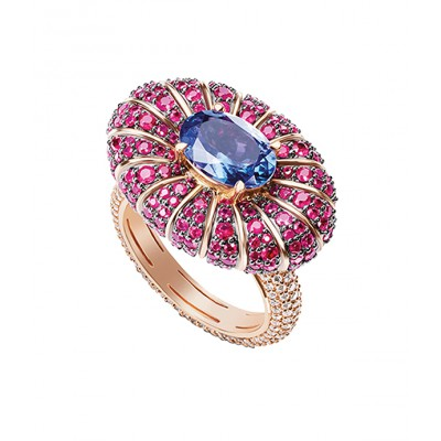 Ruby And Tanzanite Cocktail Ring
