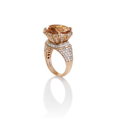 DIAMOND EMBELLISHED MORGANITE RING