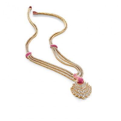 TULIP RUBY AND DIAMOND NECKLACE