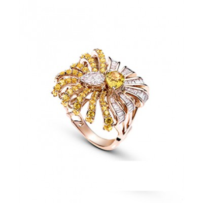Diamond And Yellow Sapphire Cocktail Ring