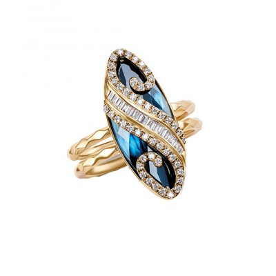 London Topaz And Diamond Ring