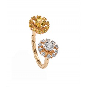 Solitaire And Yellow Sapphire Open Ring