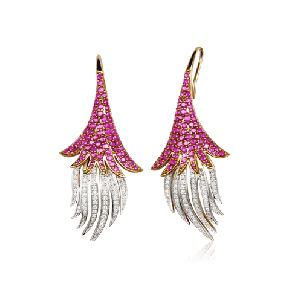 Spanish dancer's skirt ruby earring