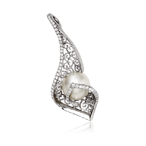 White gold and pearl Spanish lace pendant