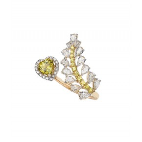 Yellow Sapphire And Diamond Wrap Ring