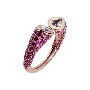 Diamond and Ruby Open Ring
