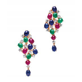Blue Sapphire Ruby And Emerald Drop Earrings