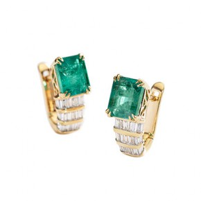 EMERALD AND DIAMOND BRAID EARRINGS​