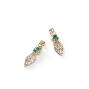 EMERALD AND DIAMOND  EARRINGS ​