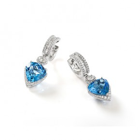 BLUE TOPAZ HEART OF THE OCEAN EARRINGS​