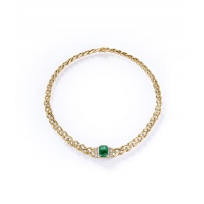 EMERALD AND GOLD BRAID NECKLACE​