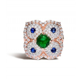 Emerald And Blue Sapphire Ring