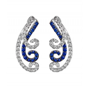 Blue Sapphire And Diamond Ear Crawlers