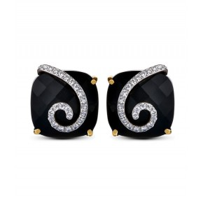 Black Onyx And Diamond Square Earrings