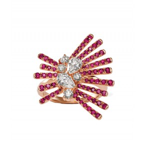Solitaire Diamond And Ruby Cocktail Ring