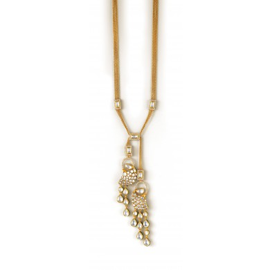 Yellow Gold and Diamond Lariat Necklace - Zoya Awadh