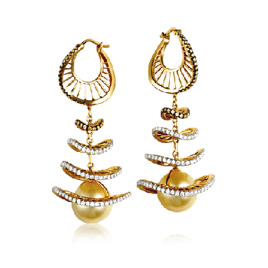 Yellow Gold Pearl and Diamond Earring inspired by Flamenco Dancer - Zoya Masterpieces