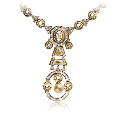 White diamond pearl necklace with Yellow Gold - Zoya Inheritance