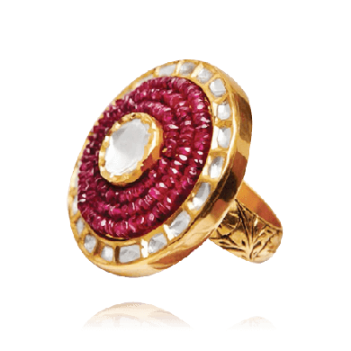 Radiant Polki, Ruby and Yellow Gold Ring - Zoya Weddings