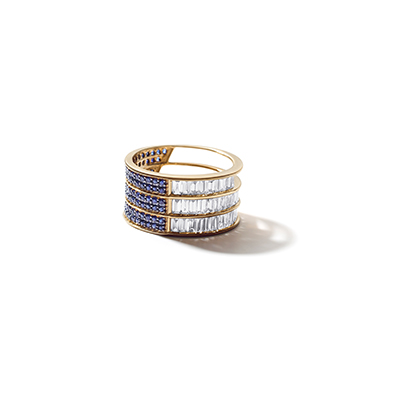 Colosseum Blue Sapphire Diamond Ring - IT 18 FAC